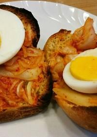 ゆで卵とキムチのブランパンサンド