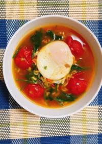 辛ラーメン〜トマトとほうれん草と卵〜