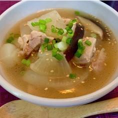 鶏肉と蒟蒻の具沢山ヘルシー中華スープ
