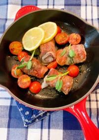豚バラ肉でくるくるサルティンボッカ