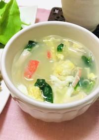 カニカマとほうれん草と卵の春雨スープ