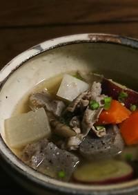 レンチン下ゆで◎ゴロゴロ野菜の豚汁◎時短