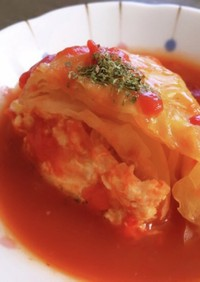 炊飯器で☆鶏ひきと豆腐のオープンキャベツ