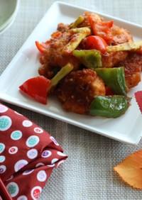 鶏胸肉とカラフル野菜のマスタードソテー