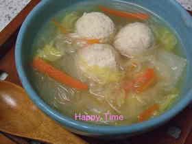 うちの子が好きな春雨と鶏団子の中華スープ