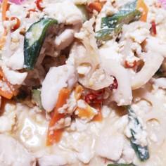 鶏ササミとれんこんのピリ辛味噌炒め