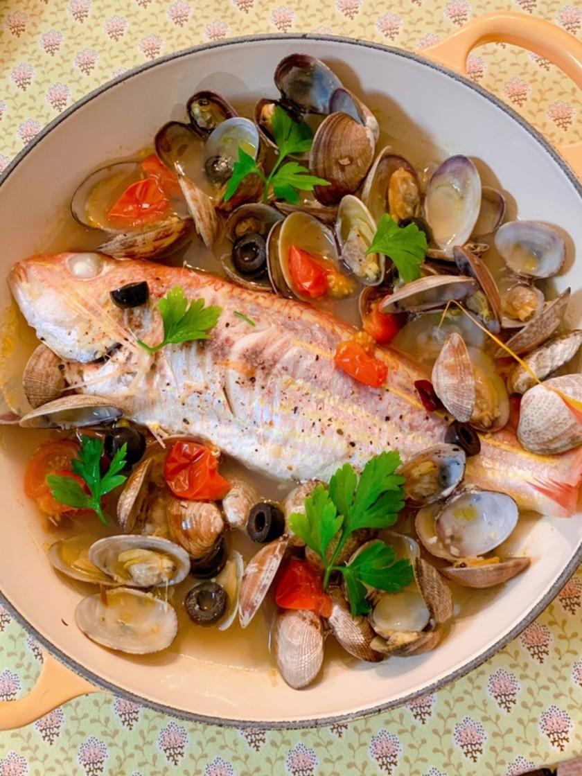 白身魚とアサリのカンタンアクアパッツァ