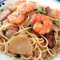 簡単!カブと海老の麺つゆパスタ