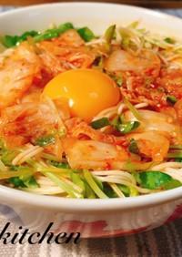 【簡単】豆苗とキムチの栄養◎旨辛素麺♡