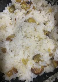 餅米、白米は4対1で栗おこわ