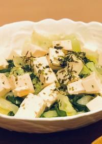 豆腐とキャベツとニラの簡単チョレギサラダ