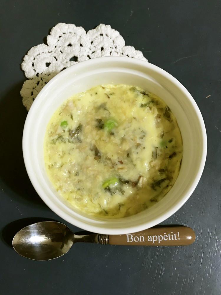レンジで☆枝豆とオートミールの茶碗蒸し