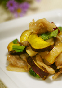 さつまいもとエリンギと豚バラ肉の秋色炒め