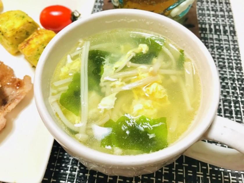 えのきと卵とワカメのスープ・中華風スープ