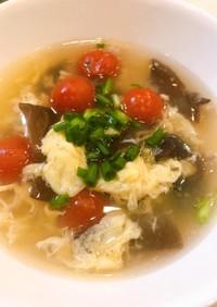 キクラゲとトマトのふんわり中華スープ