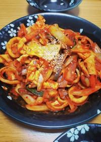 [韓国料理] イカの辛炒め