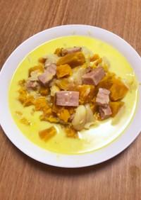 電気圧力鍋で作るベーコンかぼちゃのスープ