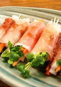 スティック野菜の生ハム巻きサラダ