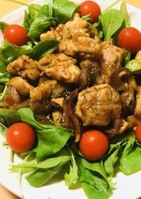 鶏もも肉の片焼き&片蒸しの赤味噌炒め