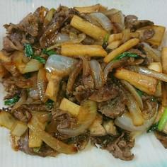 牛肉とキノコの簡単すき焼き風炒め物