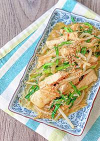 鶏むね肉とニラのピリ辛味噌炒め*簡単節約