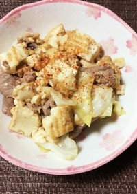 厚揚げと野菜と豚コマのバタポン炒め