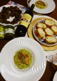 ♡ブロッコリーのタブレ♡鯛のチップス添え