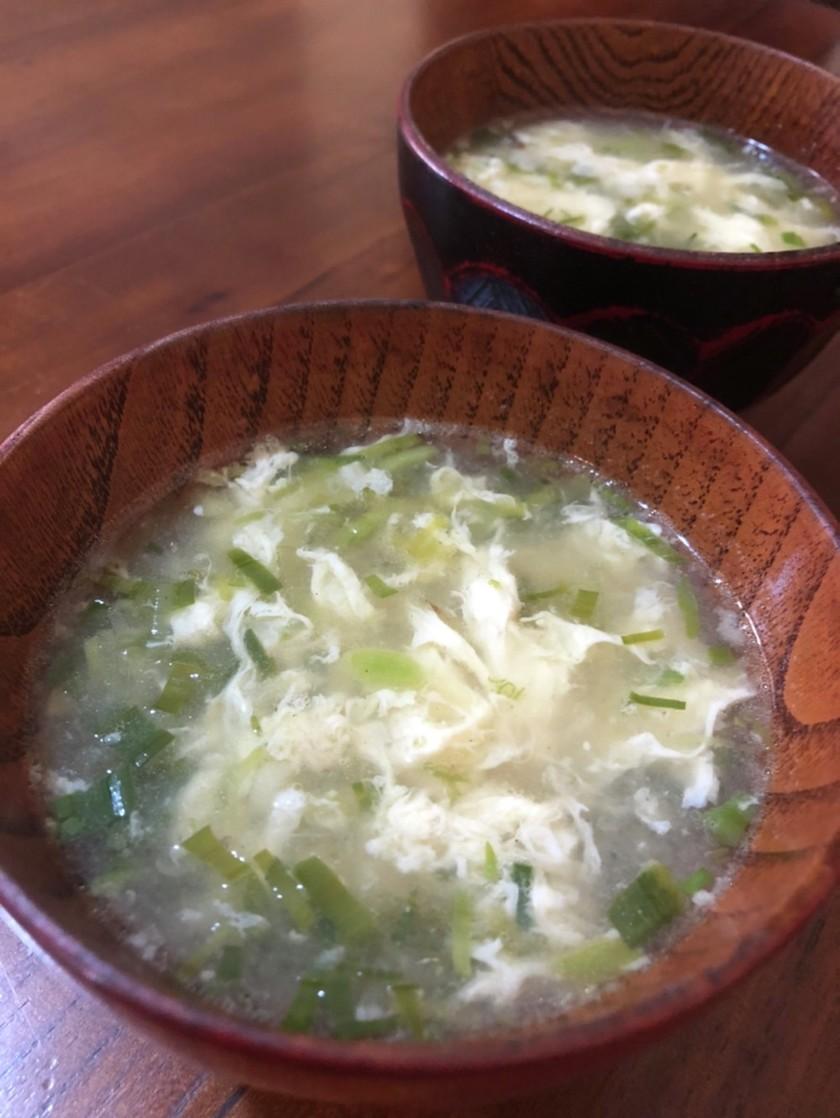 焦がしネギと卵の中華風スープ