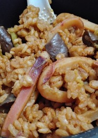 なすびピーマン海鮮ピラフ(簡単)炊飯器