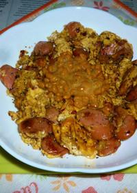 ウインナー&炒り卵+納豆のタパス