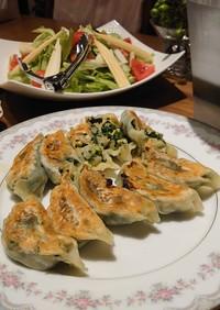 海老、にら、炒り卵の餃子&炒飯
