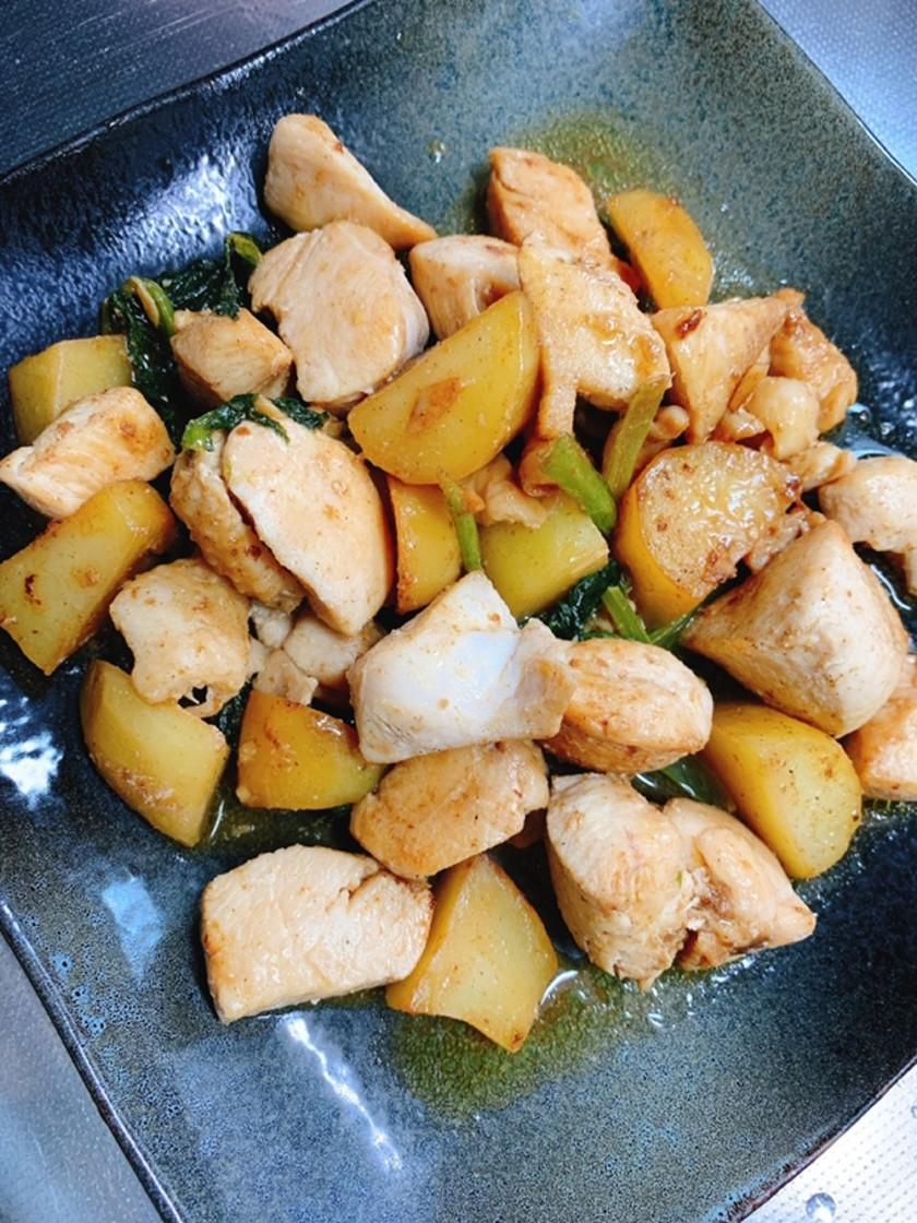 鶏じゃがの照り焼きマヨバター炒め