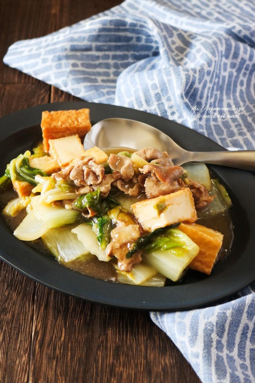 白菜と厚揚げ、豚肉の生姜とろみ餡。
