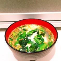 にら玉ワカメのあっというまごまスープ