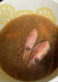 甘エビの味噌汁(ホッコクアカエビ)