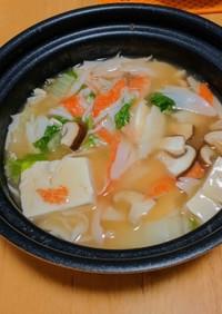 木綿豆腐とカニカマきのこで簡単旨煮