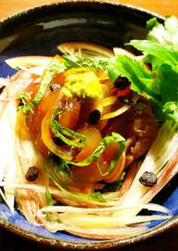 鰺の漬け丼~お茶漬け 発酵玉葱&浜納豆