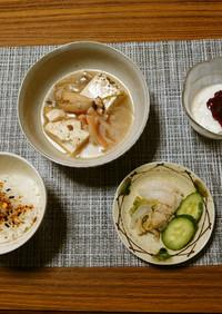 ヨウサマの減塩カニかまの豆腐あんかけ