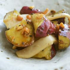 さつま芋とエリンギの甘辛みそピー炒め