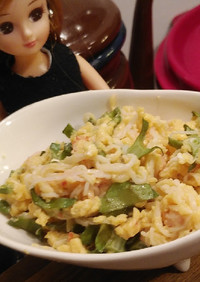 リカちゃん♡しっかり炒めのカニ玉四角豆♪