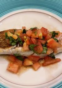 白身魚のソテー トマトマリネ