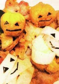 ハロウィンディナー豚肉かぼちゃ蓮根炒め