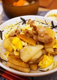 山芋と豚肉の卵炒め