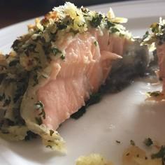 鮭のケールパン粉焼き