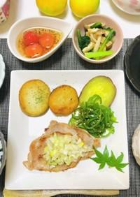 今日のご飯はネギ塩豚ロース・餃子スープ
