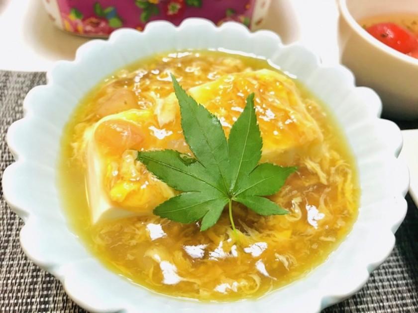 簡単海老と卵の餡掛け豆腐(^-^)♡