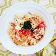 鮭トマトの洋風炊き込みご飯の写真