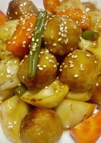 俺流!簡単…肉団子と根菜のポン酢豚