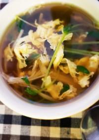 簡単!免疫アップ!豆苗とえのきの卵スープ
