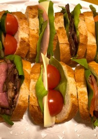 1本まるまる♡バゲットのサンドイッチ。